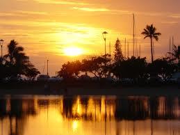 ハワイ画像夕日